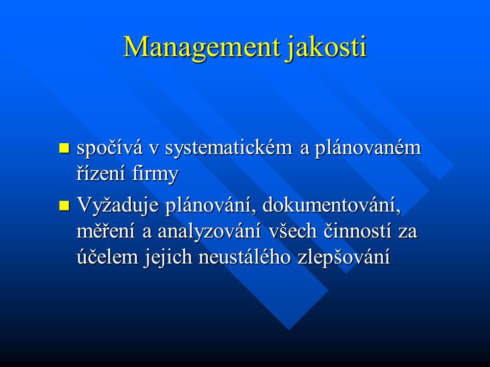 Management jakosti spočívá v systematickém a plánovaném řízení firmy spočívá v systematickém a plánovaném řízení firmy Vyžaduje plánování, dokumentová