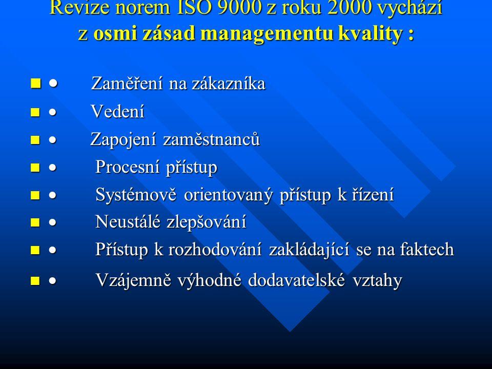 Revize norem ISO 9000 z roku 2000 vychází z osmi zásad managementu kvality : Revize norem ISO 9000 z roku 2000 vychází z osmi zásad managementu kvalit