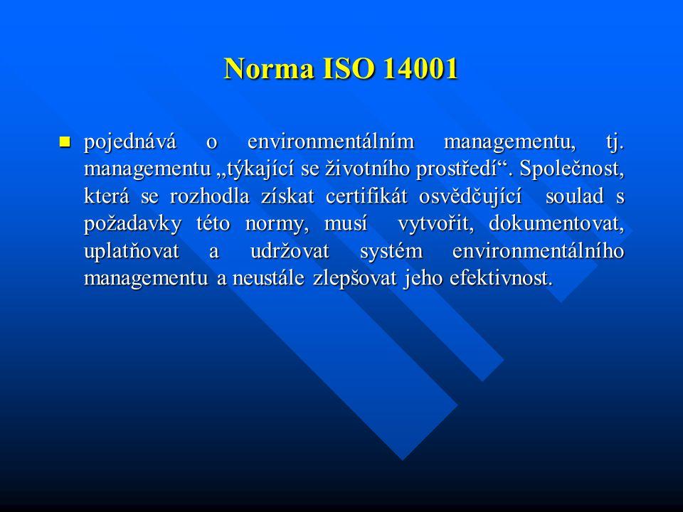 """Norma ISO 14001 pojednává o environmentálním managementu, tj. managementu """"týkající se životního prostředí"""". Společnost, která se rozhodla získat cert"""