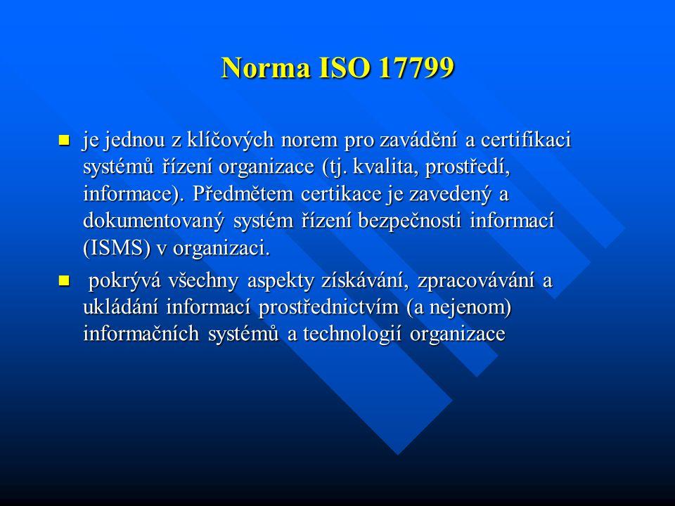 Norma ISO 17799 je jednou z klíčových norem pro zavádění a certifikaci systémů řízení organizace (tj. kvalita, prostředí, informace). Předmětem certik