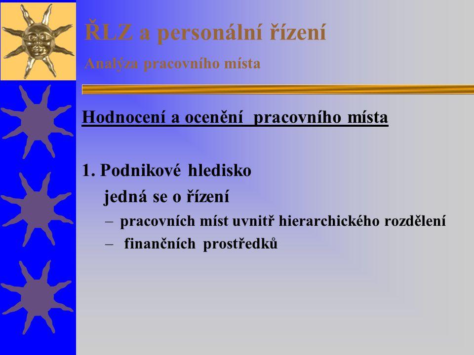 ŘLZ a personální řízení Analýza pracovního místa Hodnocení a ocenění pracovního místa 1.