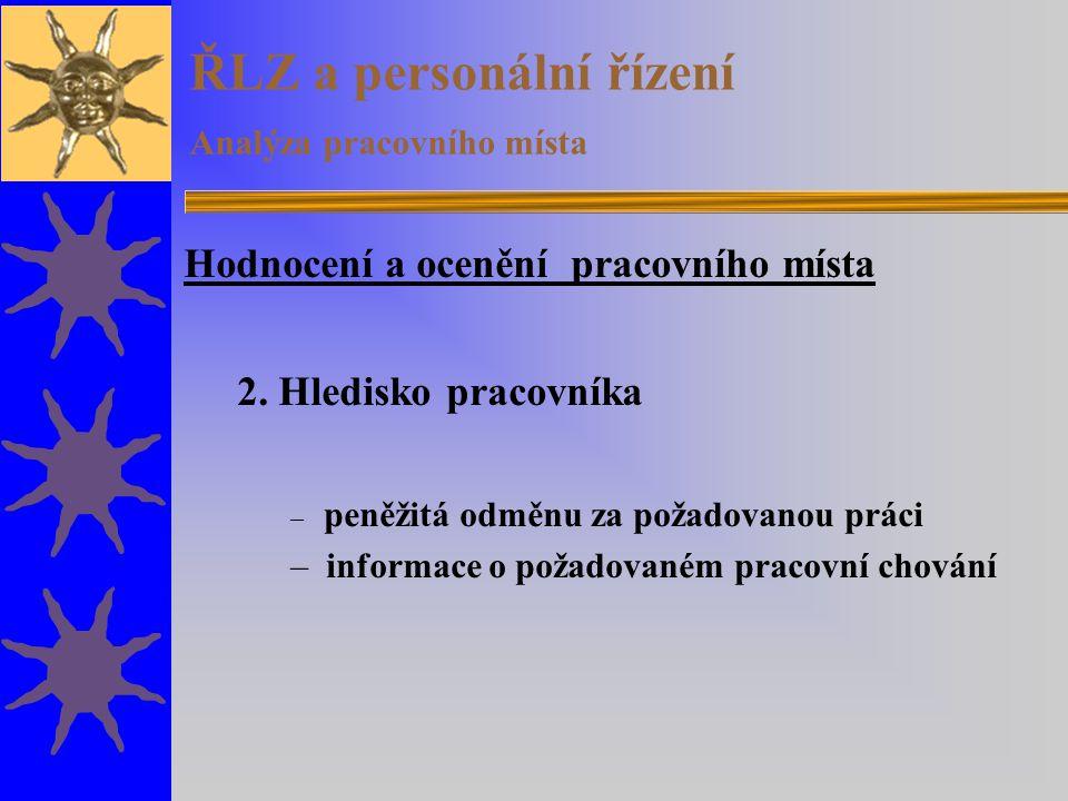 ŘLZ a personální řízení Analýza pracovního místa Hodnocení a ocenění pracovního místa 2.