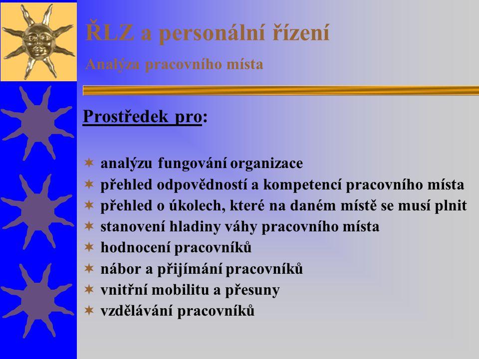 ŘLZ a personální řízení Analýza pracovního místa Prostředek pro:  analýzu fungování organizace  přehled odpovědností a kompetencí pracovního místa 