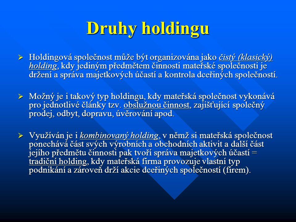 Druhy holdingu  Holdingová společnost může být organizována jako čistý (klasický) holding, kdy jediným předmětem činnosti mateřské společnosti je držení a správa majetkových účastí a kontrola dceřiných společností.