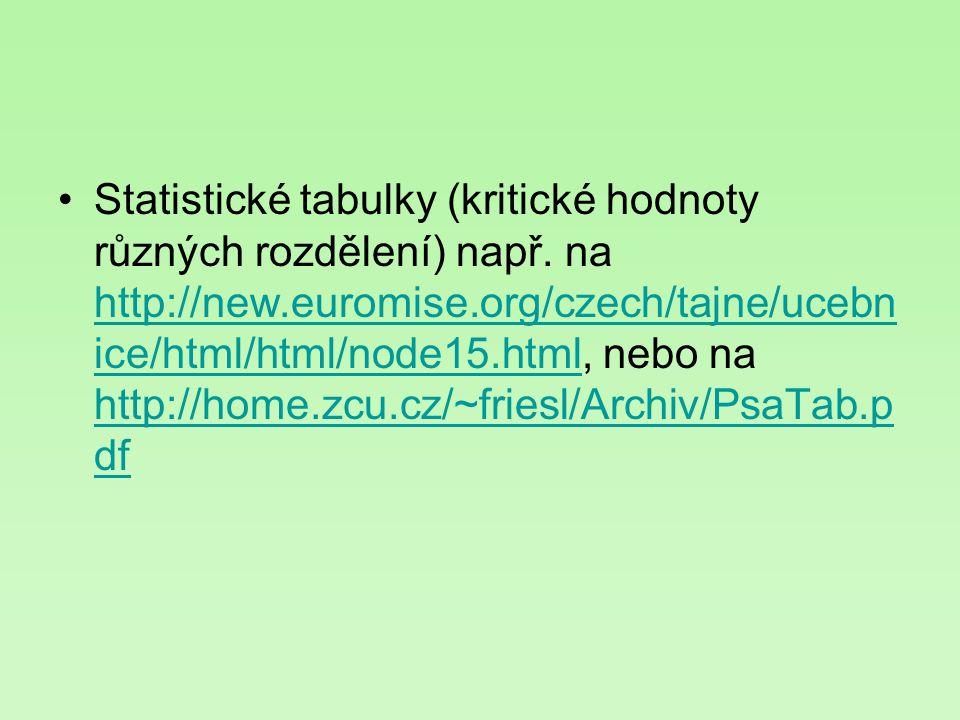 Statistické tabulky (kritické hodnoty různých rozdělení) např. na http://new.euromise.org/czech/tajne/ucebn ice/html/html/node15.html, nebo na http://