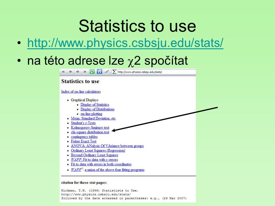 Statistics to use http://www.physics.csbsju.edu/stats/ na této adrese lze  2 spočítat