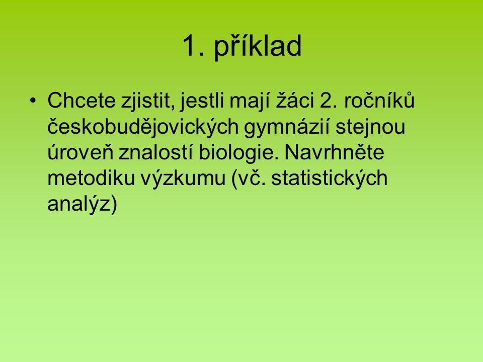 1. příklad Chcete zjistit, jestli mají žáci 2. ročníků českobudějovických gymnázií stejnou úroveň znalostí biologie. Navrhněte metodiku výzkumu (vč. s