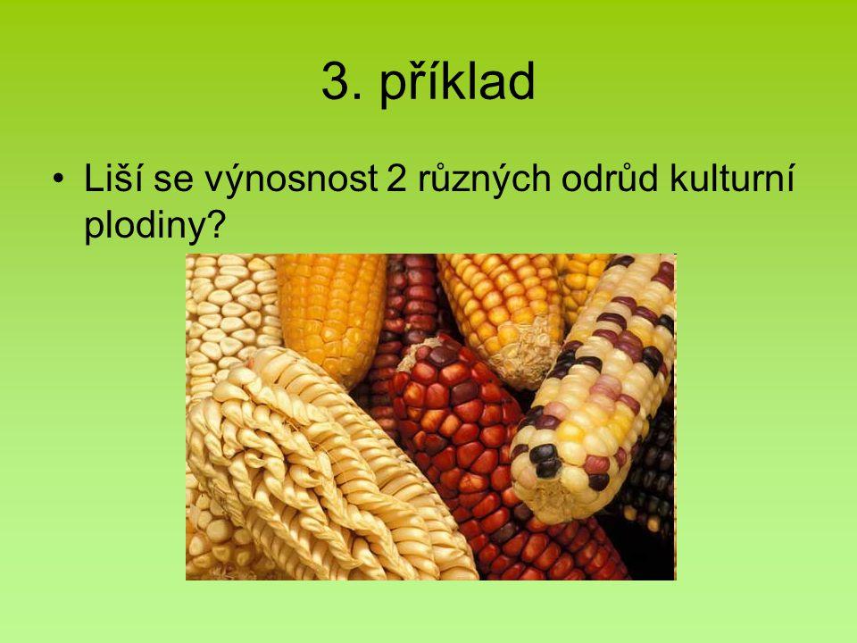 3. příklad Liší se výnosnost 2 různých odrůd kulturní plodiny