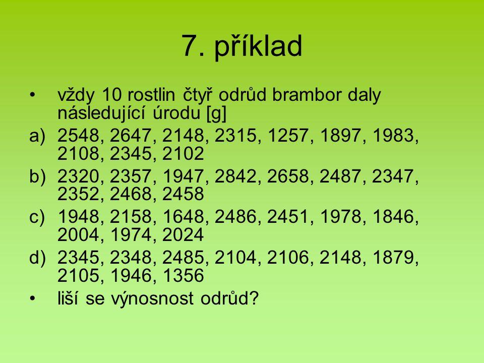 7. příklad vždy 10 rostlin čtyř odrůd brambor daly následující úrodu [g] a)2548, 2647, 2148, 2315, 1257, 1897, 1983, 2108, 2345, 2102 b)2320, 2357, 19