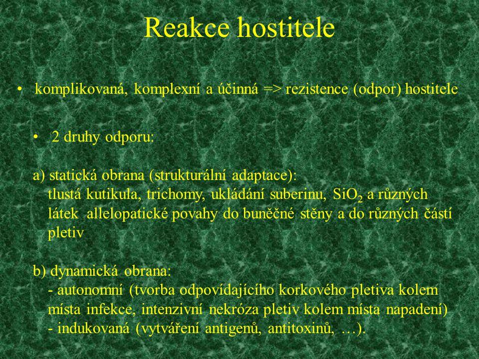Reakce hostitele komplikovaná, komplexní a účinná => rezistence (odpor) hostitele 2 druhy odporu: a) statická obrana (strukturální adaptace): tlustá k