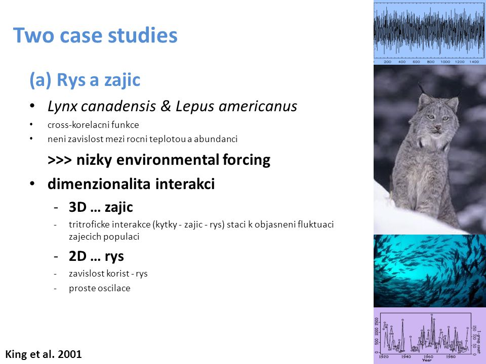 (a) Rys a zajic Lynx canadensis & Lepus americanus cross-korelacni funkce neni zavislost mezi rocni teplotou a abundanci >>> nizky environmental forci