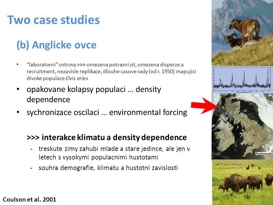 "Two case studies (b) Anglicke ovce ""laboratorni"" ostrovy >>> omezena potravni sit, omezena disperze a recruitment, nezavisle replikace, dlouhe casove"