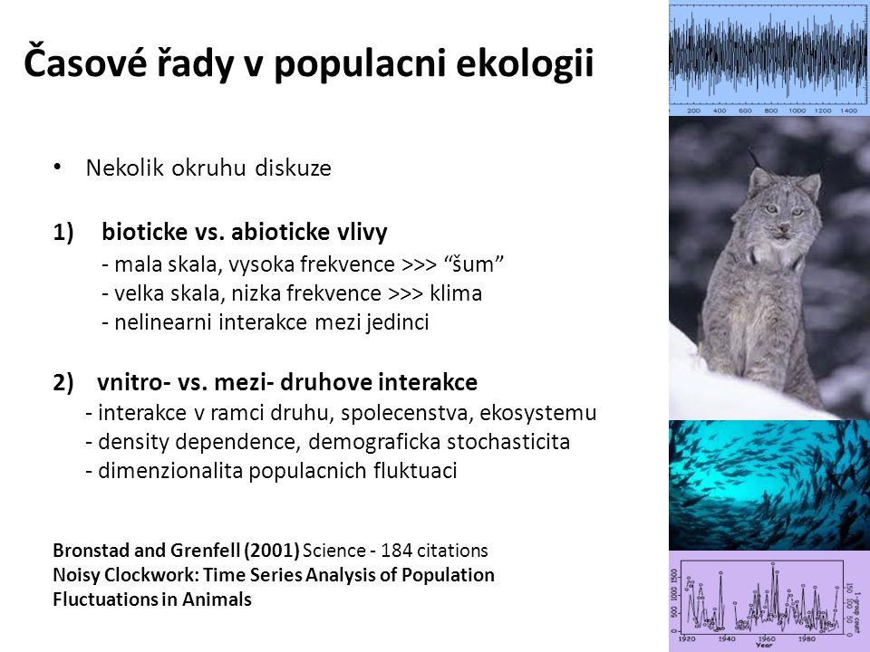 """Nekolik okruhu diskuze 1)bioticke vs. abioticke vlivy - mala skala, vysoka frekvence >>> """"šum"""" - velka skala, nizka frekvence >>> klima - nelinearni i"""