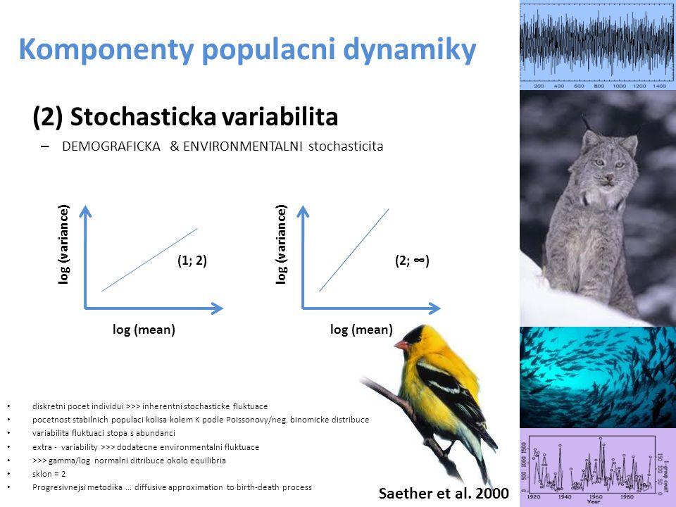 (2) Stochasticka variabilita – DEMOGRAFICKA & ENVIRONMENTALNI stochasticita diskretni pocet individui >>> inherentni stochasticke fluktuace pocetnost