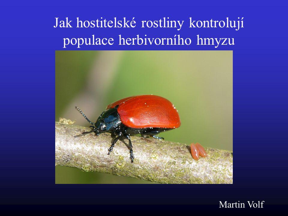 Jak hostitelské rostliny kontrolují populace herbivorního hmyzu Martin Volf