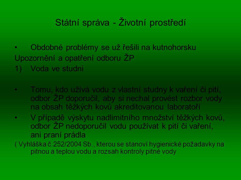 Státní správa - Životní prostředí Obdobné problémy se už řešili na kutnohorsku Upozornění a opatření odboru ŽP 1)Voda ve studni Tomu, kdo užívá vodu z