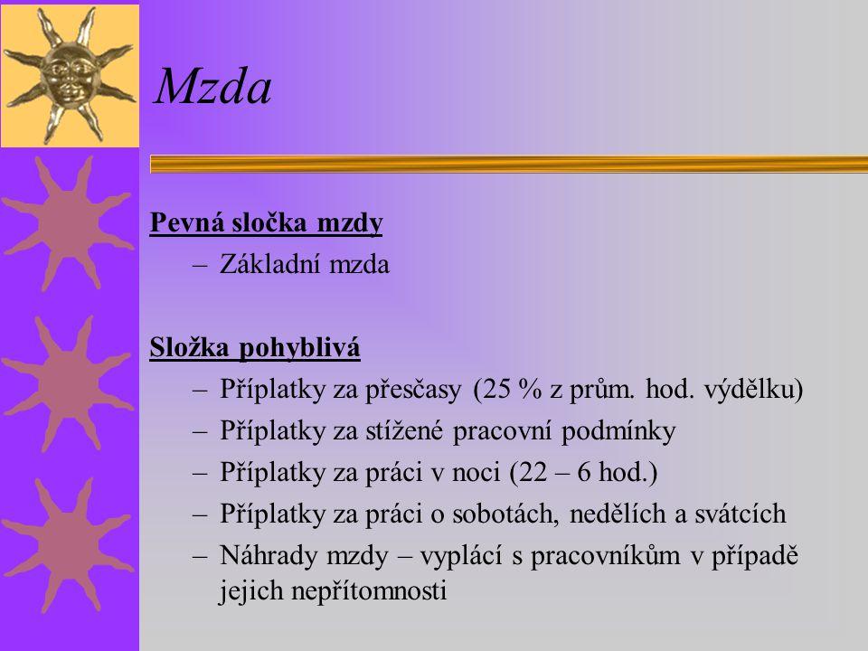 Mzda Pevná sločka mzdy –Základní mzda Složka pohyblivá –Příplatky za přesčasy (25 % z prům.