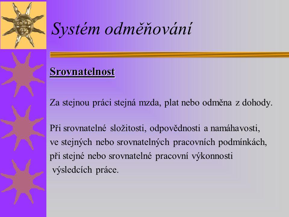 Systém odměňování Srovnatelnost Za stejnou práci stejná mzda, plat nebo odměna z dohody.
