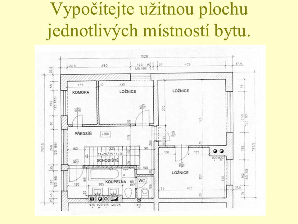 Vypočítejte užitnou plochu jednotlivých místností bytu.