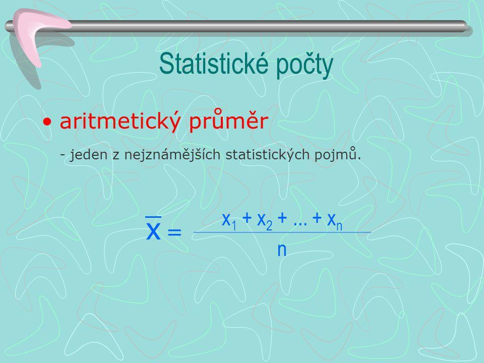 statistická jednotka - jeden objekt ze statistického souboru (jeden člen skupiny) Člen Výdělek Celkem 1. týden2. týden Adam5060110 Barbora7080150 Čeně