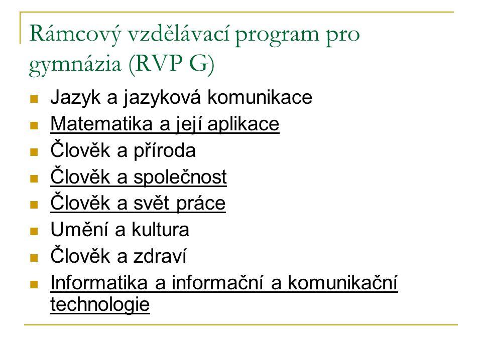 Rámcový vzdělávací program pro gymnázia (RVP G) Jazyk a jazyková komunikace Matematika a její aplikace Člověk a příroda Člověk a společnost Člověk a s