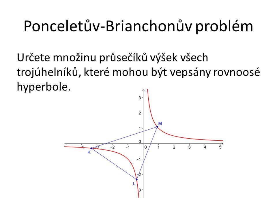 Ponceletův-Brianchonův problém Určete množinu průsečíků výšek všech trojúhelníků, které mohou být vepsány rovnoosé hyperbole.