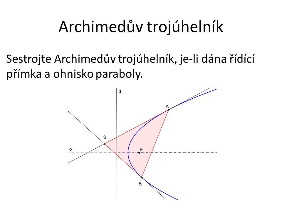 Archimedův trojúhelník Sestrojte Archimedův trojúhelník, je-li dána řídící přímka a ohnisko paraboly.