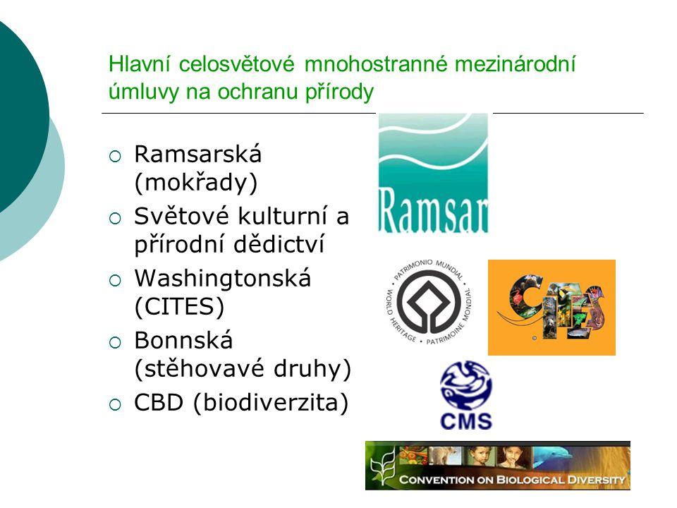 Hlavní celosvětové mnohostranné mezinárodní úmluvy na ochranu přírody  Ramsarská (mokřady)  Světové kulturní a přírodní dědictví  Washingtonská (CITES)  Bonnská (stěhovavé druhy)  CBD (biodiverzita)