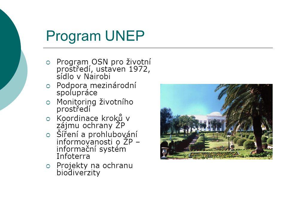 Program UNEP  Program OSN pro životní prostředí, ustaven 1972, sídlo v Nairobi  Podpora mezinárodní spolupráce  Monitoring životního prostředí  Koordinace kroků v zájmu ochrany ŽP  Šíření a prohlubování informovanosti o ŽP – informační systém Infoterra  Projekty na ochranu biodiverzity
