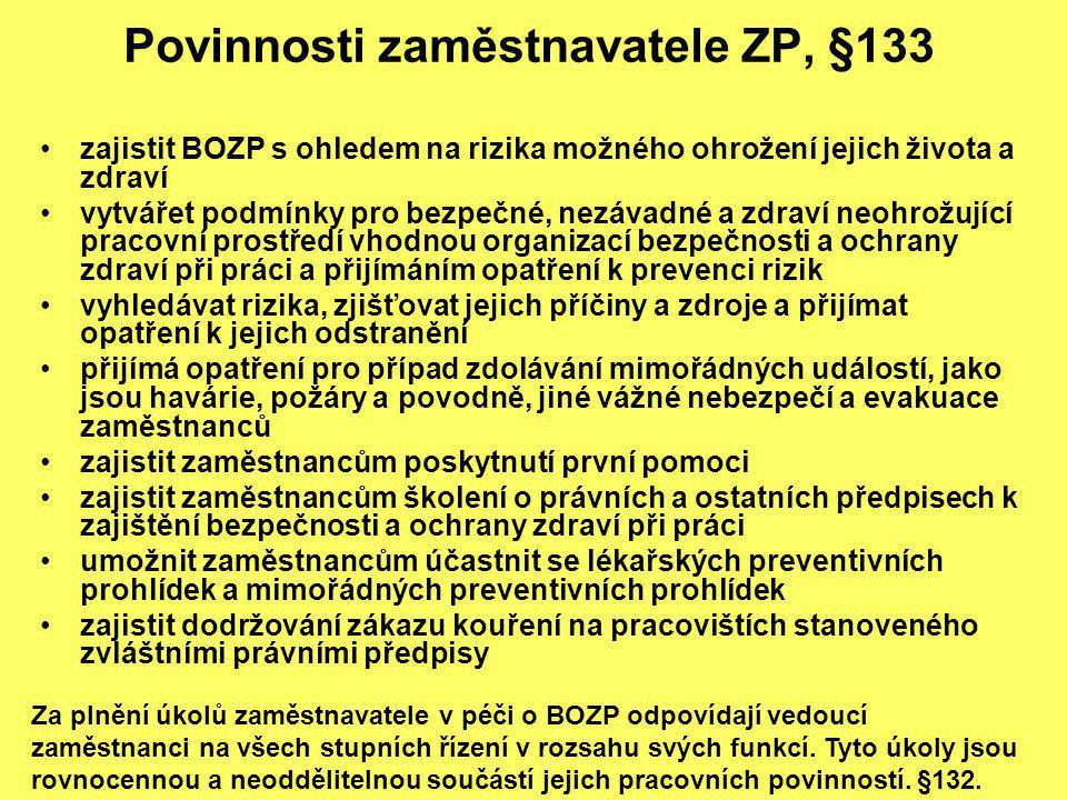 Povinnosti zaměstnavatele ZP, §133 zajistit BOZP s ohledem na rizika možného ohrožení jejich života a zdraví vytvářet podmínky pro bezpečné, nezávadné