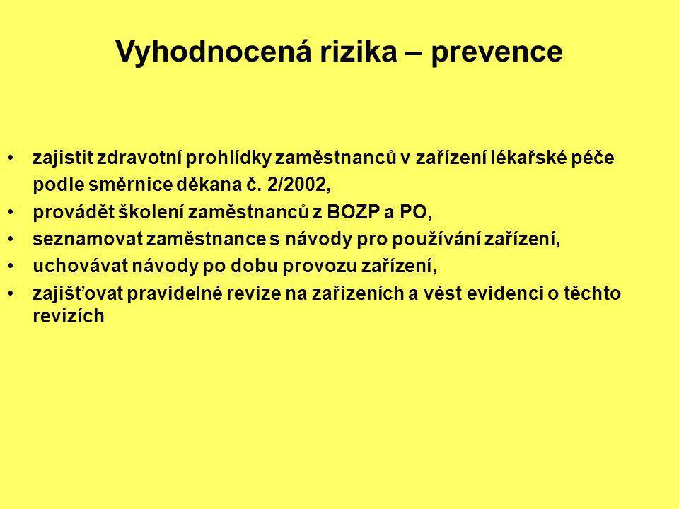 Vyhodnocená rizika – prevence zajistit zdravotní prohlídky zaměstnanců v zařízení lékařské péče podle směrnice děkana č. 2/2002, provádět školení zamě