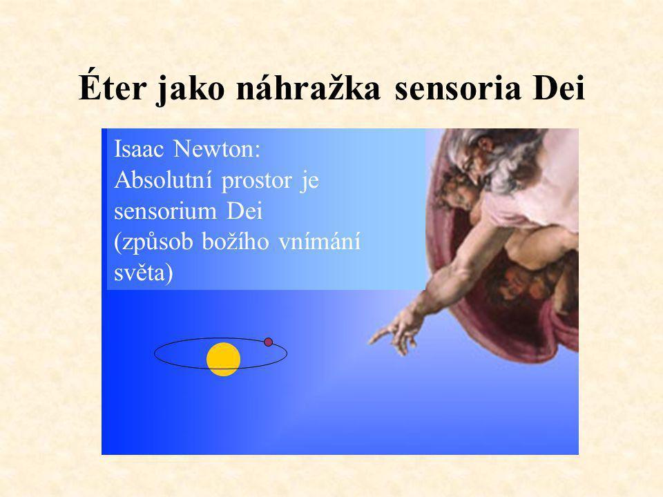 Éter jako náhražka sensoria Dei Isaac Newton: Absolutní prostor je sensorium Dei (způsob božího vnímání světa)