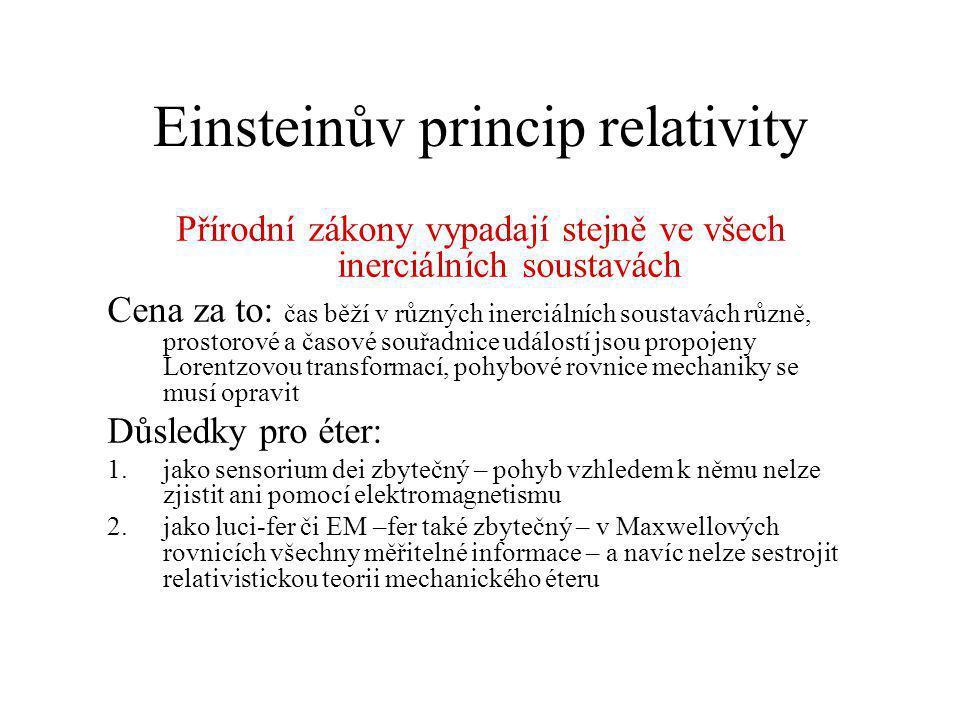 Einsteinův princip relativity Přírodní zákony vypadají stejně ve všech inerciálních soustavách Cena za to: čas běží v různých inerciálních soustavách
