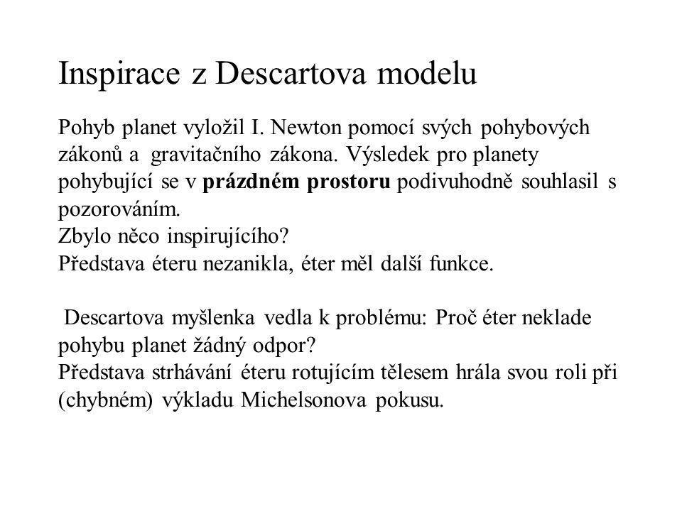 Inspirace z Descartova modelu Pohyb planet vyložil I. Newton pomocí svých pohybových zákonů a gravitačního zákona. Výsledek pro planety pohybující se
