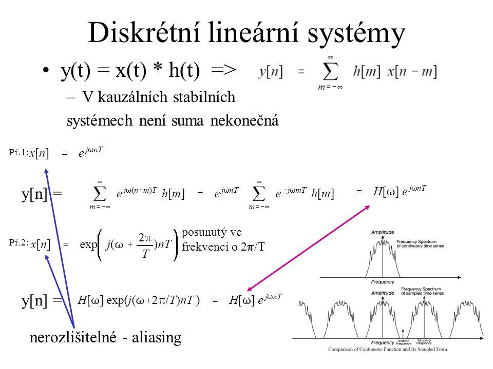 Diskrétní lineární systémy y(t) = x(t) * h(t) => –V kauzálních stabilních systémech není suma nekonečná y[n] = posunutý ve frekvenci o 2  /T y[n] = nerozlišitelné - aliasing Př.1: Př.2: