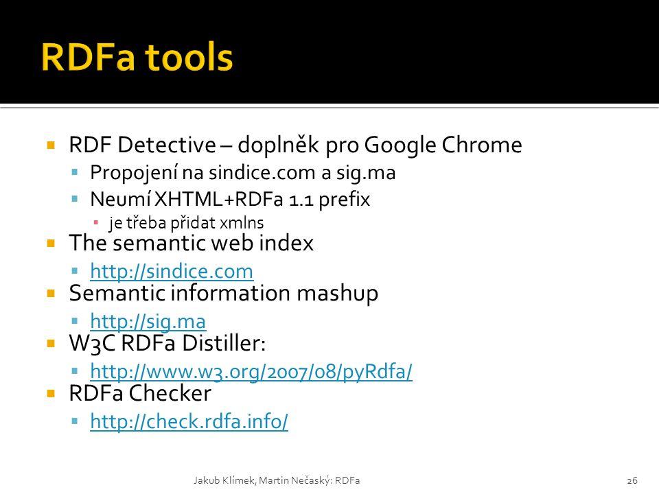  RDF Detective – doplněk pro Google Chrome  Propojení na sindice.com a sig.ma  Neumí XHTML+RDFa 1.1 prefix ▪ je třeba přidat xmlns  The semantic w