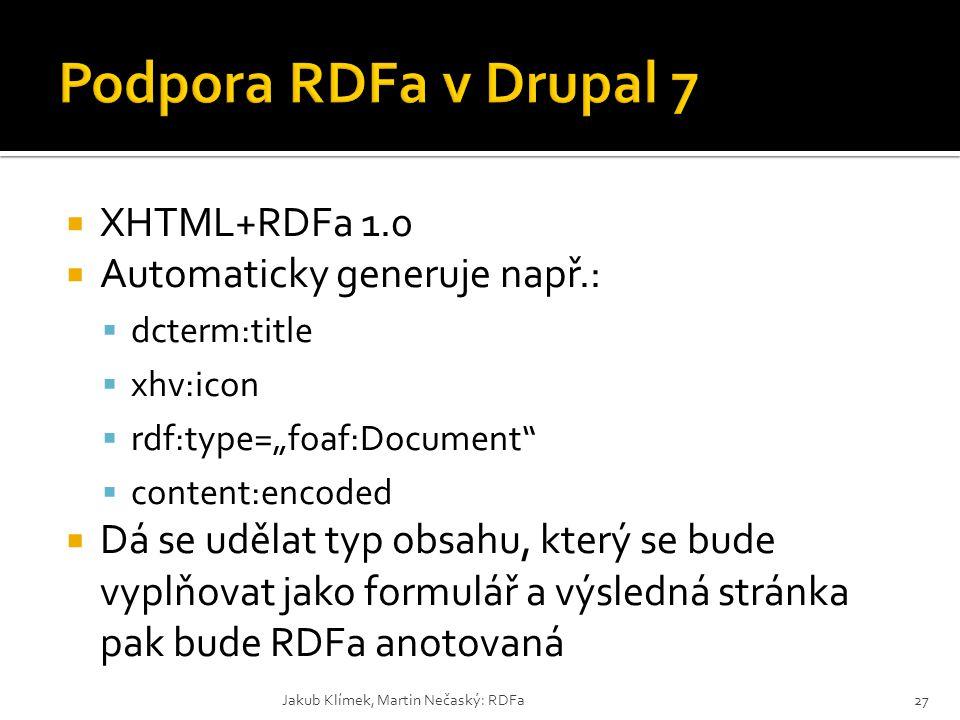 """ XHTML+RDFa 1.0  Automaticky generuje např.:  dcterm:title  xhv:icon  rdf:type=""""foaf:Document""""  content:encoded  Dá se udělat typ obsahu, který"""