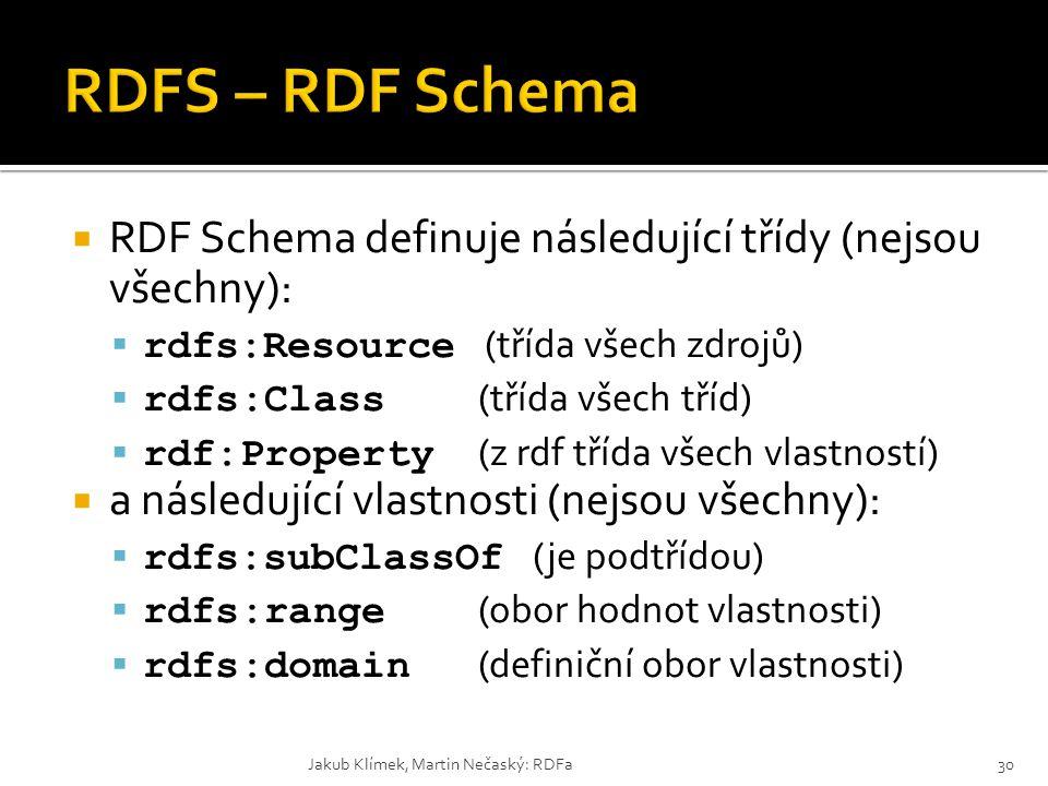  RDF Schema definuje následující třídy (nejsou všechny):  rdfs:Resource (třída všech zdrojů)  rdfs:Class (třída všech tříd)  rdf:Property (z rdf t