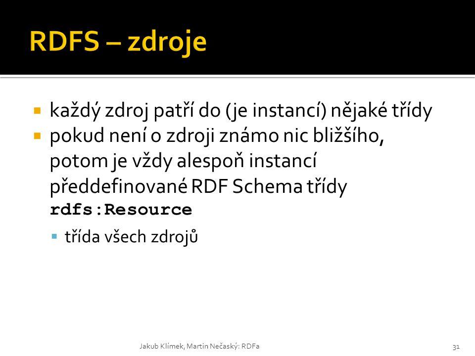  každý zdroj patří do (je instancí) nějaké třídy  pokud není o zdroji známo nic bližšího, potom je vždy alespoň instancí předdefinované RDF Schema t