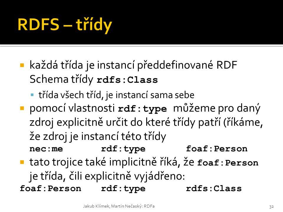  každá třída je instancí předdefinované RDF Schema třídy rdfs:Class  třída všech tříd, je instancí sama sebe  pomocí vlastnosti rdf:type můžeme pro