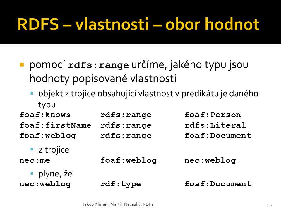  pomocí rdfs:range určíme, jakého typu jsou hodnoty popisované vlastnosti  objekt z trojice obsahující vlastnost v predikátu je daného typu foaf:kno