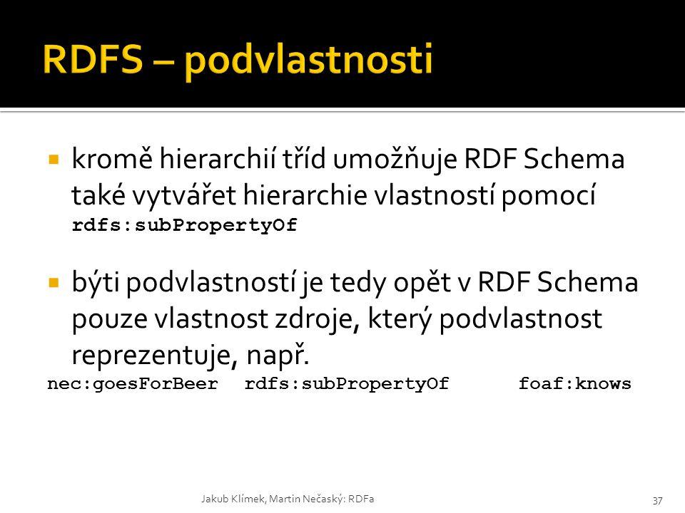  kromě hierarchií tříd umožňuje RDF Schema také vytvářet hierarchie vlastností pomocí rdfs:subPropertyOf  býti podvlastností je tedy opět v RDF Sche