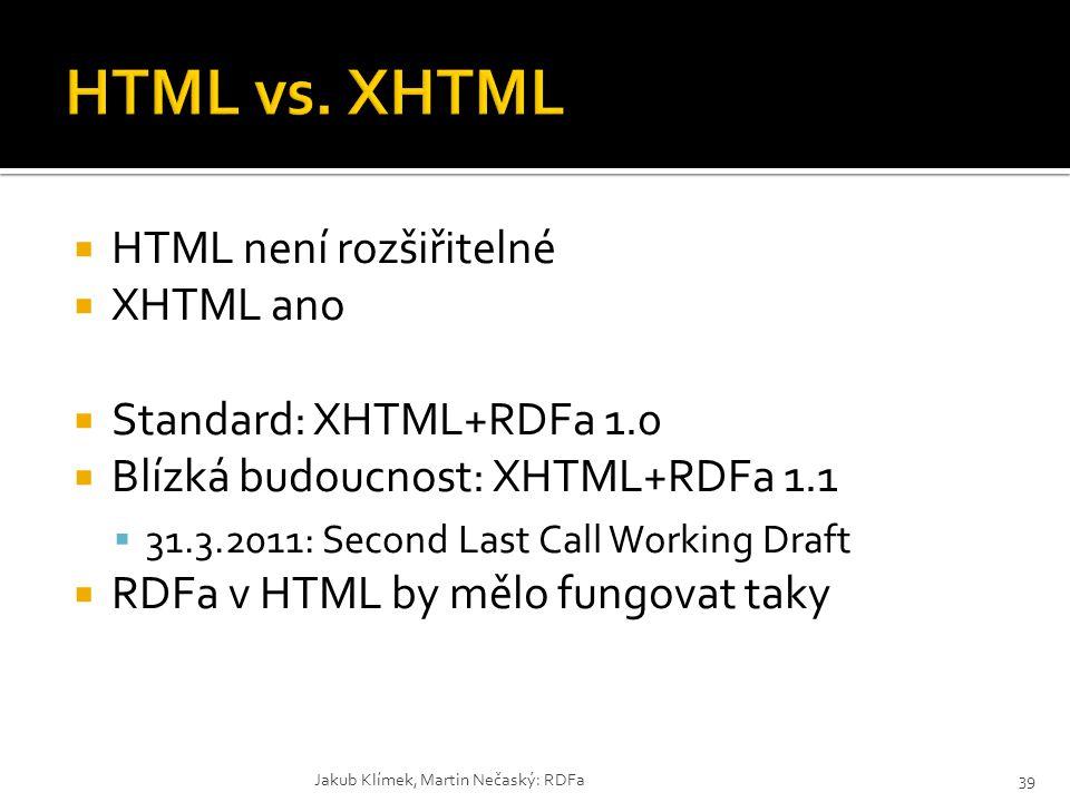  HTML není rozšiřitelné  XHTML ano  Standard: XHTML+RDFa 1.0  Blízká budoucnost: XHTML+RDFa 1.1  31.3.2011: Second Last Call Working Draft  RDFa