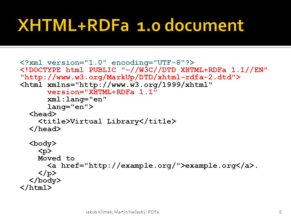 <html xmlns= http://www.w3.org/1999/xhtml version= XHTML+RDFa 1.1 xml:lang= en lang= en > Virtual Library Moved to example.org.