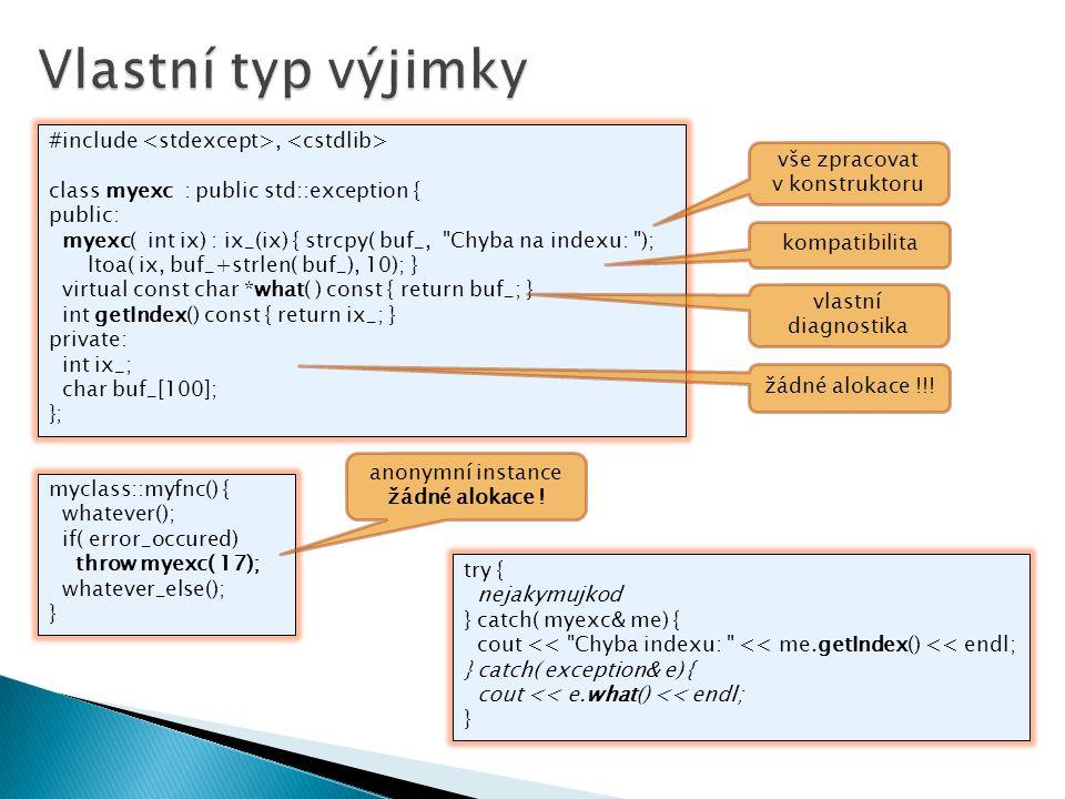 #include, class myexc : public std::exception { public: myexc( int ix) : ix_(ix) { strcpy( buf_,