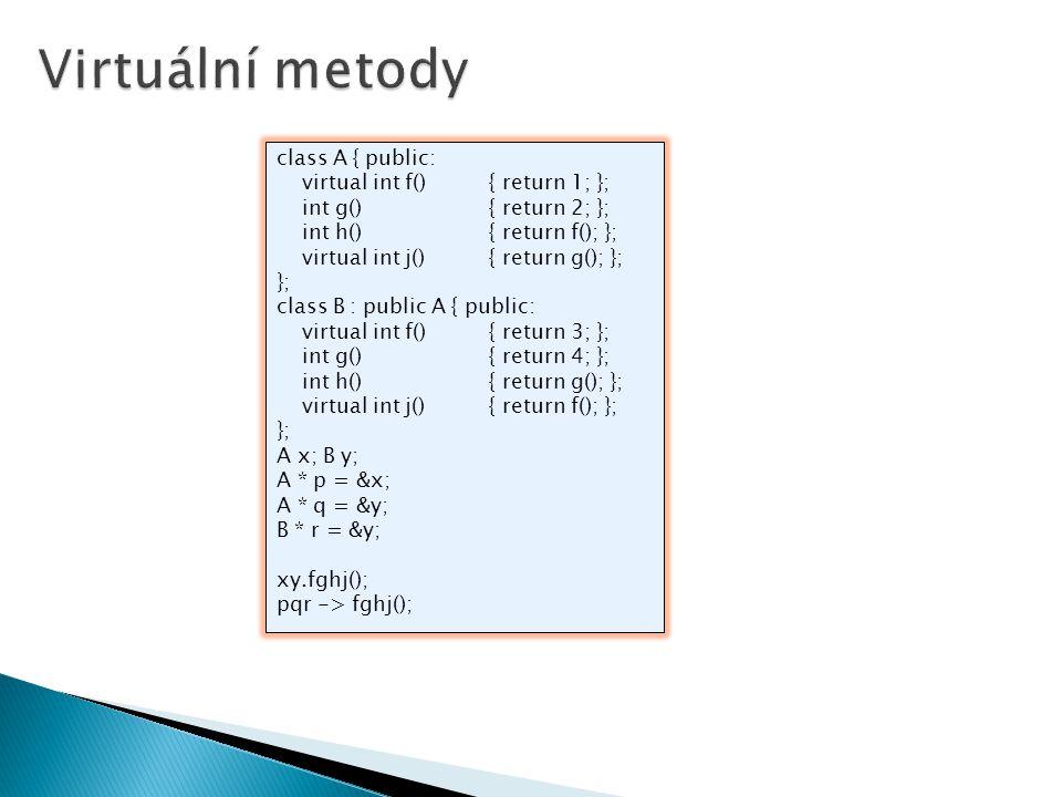 class A { public: virtual int f(){ return 1; }; int g(){ return 2; }; int h(){ return f(); }; virtual int j(){ return g(); }; }; class B : public A {
