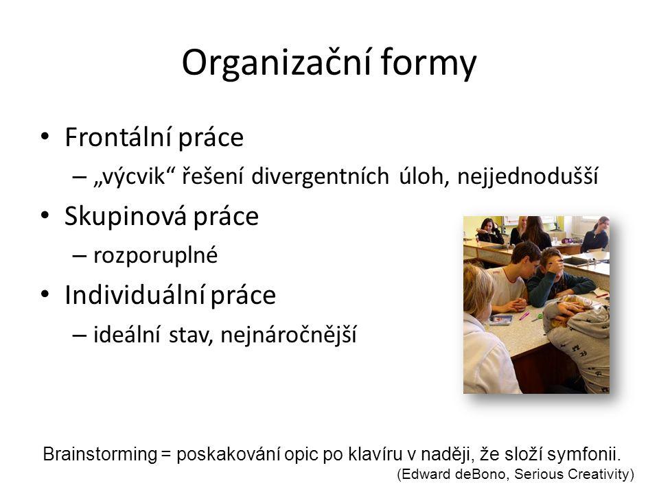 """Organizační formy Frontální práce – """"výcvik"""" řešení divergentních úloh, nejjednodušší Skupinová práce – rozporuplné Individuální práce – ideální stav,"""