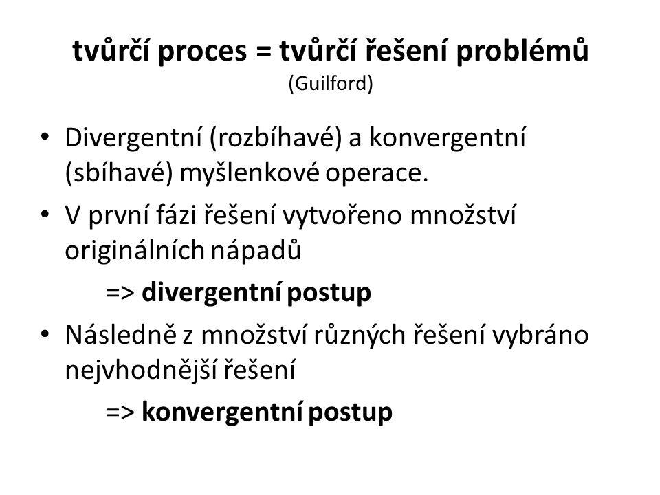 tvůrčí proces = tvůrčí řešení problémů (Guilford) Divergentní (rozbíhavé) a konvergentní (sbíhavé) myšlenkové operace. V první fázi řešení vytvořeno m