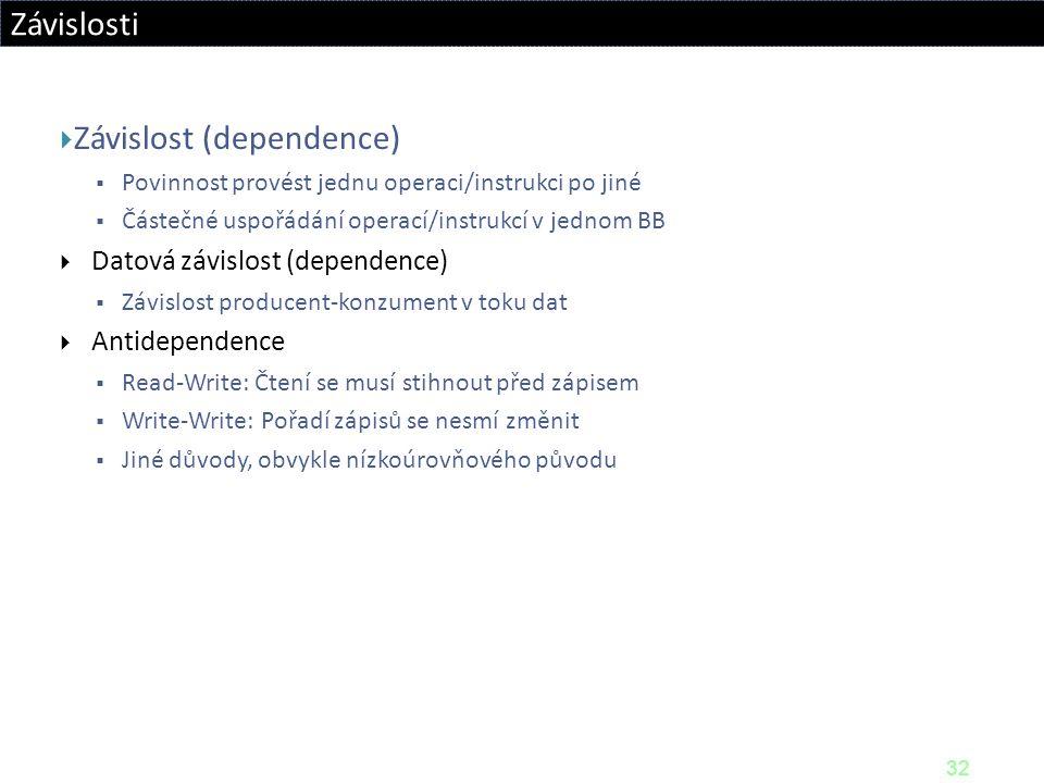 32 Závislosti  Závislost (dependence)  Povinnost provést jednu operaci/instrukci po jiné  Částečné uspořádání operací/instrukcí v jednom BB  Datov
