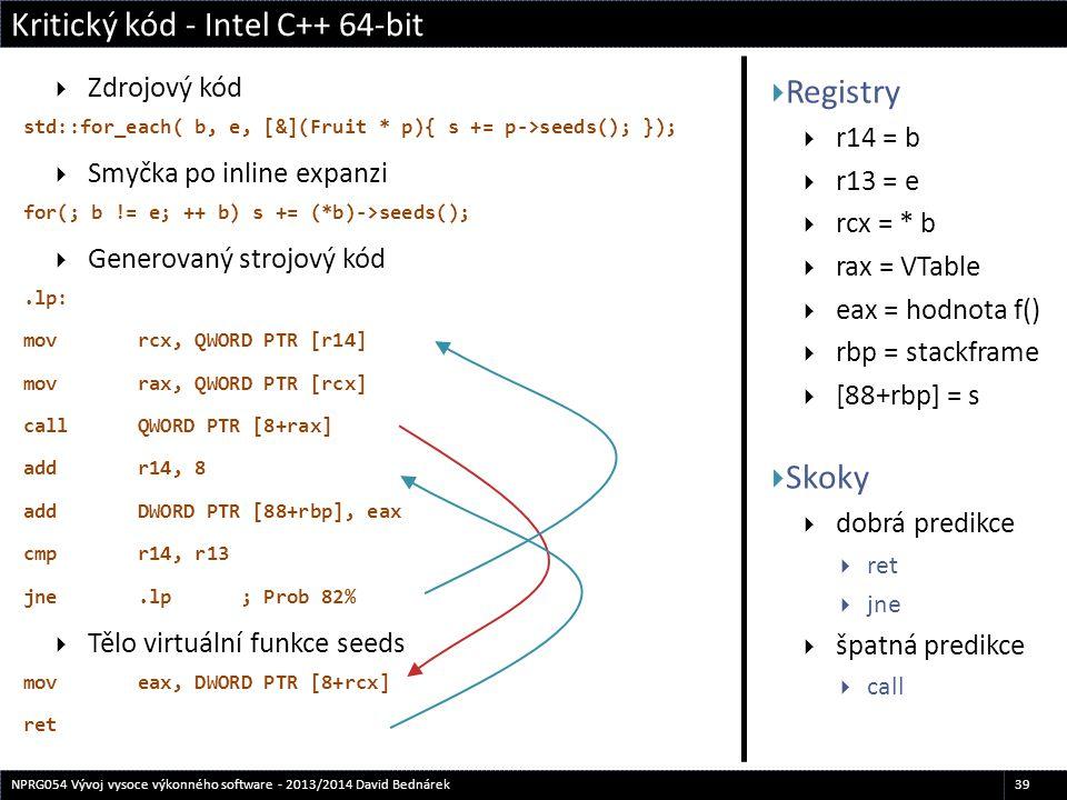  Registry  r14 = b  r13 = e  rcx = * b  rax = VTable  eax = hodnota f()  rbp = stackframe  [88+rbp] = s  Skoky  dobrá predikce  ret  jne 